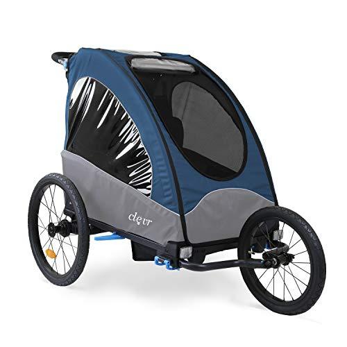 ClevrPlus Venturer 3-in-1 Double 2 Seat Bicycle Bike Trailer Jogger Stroller for Kids Children | Foldable w/Front Jogger Wheel, 2 Pivot Stroller Wheel, Bike Trailer Hitch