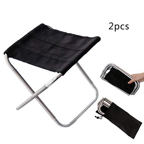 XIAOHE Chaise Pliante Portable extérieure, Cadre en Aluminium Ultra léger, siège Noir en Oxford, Jardin de Plein air pour la pêche Sportive,Siver*2
