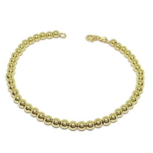 Never Say Never - Bracciale di palline in oro giallo 18 k, larghezza 4 mm. Lunghezza 18 cm. Chiusura con moschettone