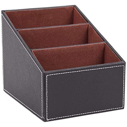 YUTRD ZCJUX Organizador de Escritorio de Oficina - Caja de Almacenamiento de Escritorio de Cuero Multifuncional - Tarjeta de Visita/Pluma/lápiz/móvil (Color : Brown)