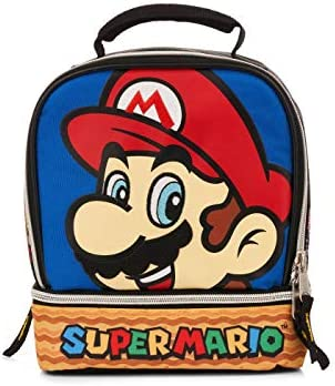 PVC Free Insulated Large Dual Compartments Zippered Mario Friends Gamer Lunch Box Bag product image