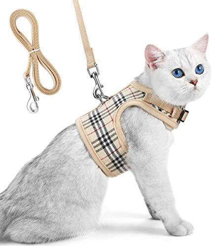 Unihubys Cat Harness with Leash Set- Adjustable Soft Mesh Material with Strong D-Ring for Peace of Mind, Great for Walking (M, Beige)