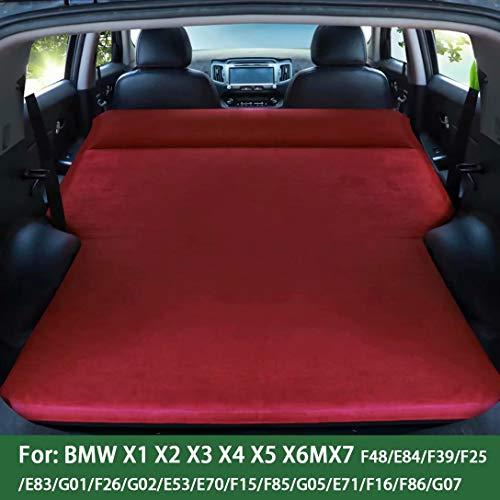 QCCQC Adatto per BMW X1 X2 X3 X4 X5 X6MX7 SUV Materasso Gonfiabile Cuscino per Letto Gonfiabile Automatico per Auto Posteriore Campeggio da Viaggio Materasso ad Aria, Rosso, CAMOSCIO