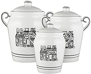 Elle Decor Le Bistro Canister Set 3-Piece Ceramic Jars in 46, 66, and 92 Ounces Chic Design With Lids for Cookies, Candy, Coffee, Flour, Sugar, Rice, Pasta, Cereal and More