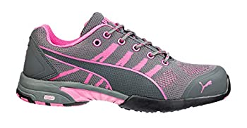 PUMA Safety Womens Celerity Knit Low Slip Resistant Steel Toe Work Work Safety Shoes Casual - Grey,Pink - Size 7 M