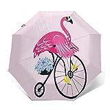 Paraguas Plegable Automático Impermeable Flamingo Gafas de Sol Bird Bicicleta, Paraguas De Viaje Compacto a Prueba De Viento, Folding Umbrella, Dosel Reforzado, Mango Ergonómico
