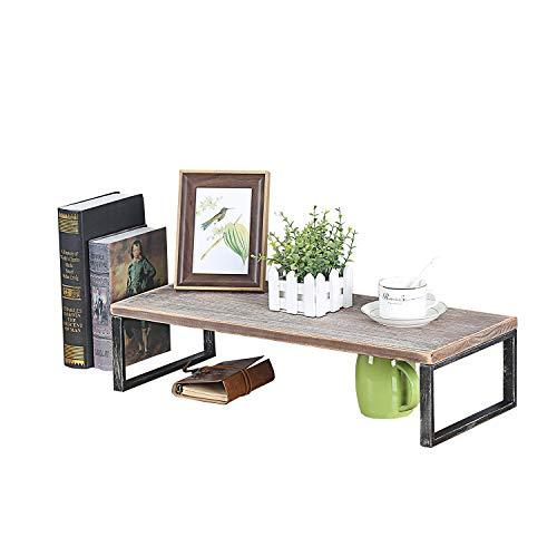 MBQQ Industrial Modern Metal&Wooden Desk Organizer Plants Racks,L24 x D9.8 Rustic Office Storage Shelf,Desktop Display Shelves,Flower Stand,Kitchen Spice Rack