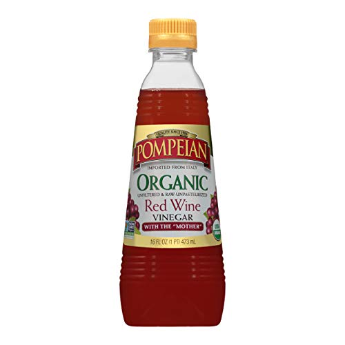 Pompeian Gourmet Organic Red Wine Vinegar, Unfiltered and Unpasteurized, Perfect for Marinades, Salad Dressings and Sauces, Naturally Gluten Free, Non-Allergenic, Non-GMO, 16 FL. OZ., Pack of 6