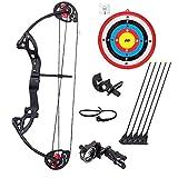 Polea compuesta de arco y flecha, tiro con arco con ventosa y flechas, tiro con arco juvenil de 16 a 29 libras ajustable para principiantes al aire libre y tiro de caza profesional