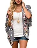 Summer Floral Kimono Cardigans for Women Beach Swimwear Bathing Suit Cover up Open Front Tops Blouse (Deep Gray, Medium)