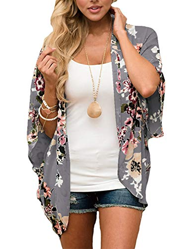 Floral Kimono Cardigan for Women Beach Swimwear Bikini Bathing Suit Cover up Summer Open Front Blouse Top (Deep Gray, Medium)