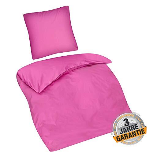 Aminata Kids süße Premium Bettwäsche-Set pink Uni-Motiv einfarbig 135 x 200 cm + 80 x 80 cm Mädchen, Frauen, Jugendliche aus Baumwolle mit Reißverschluss, rosa