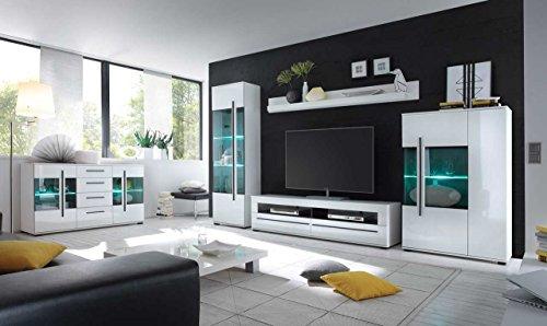 Wohnwand in weiß mit Hochglanz Tiefziefronten und Grauglas, Soft-Close Schubkästen, Gesamtmaße: B/H/T ca. 350 (330)/200/37-42 cm - 2