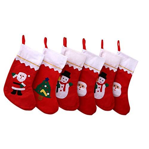 Toyvian 6Pcs Christmas Hanging Sock Creative Durable Practical Christmas Sock Bag Christmas Stockings Christmas Hanging Sock for Christmas Decoration