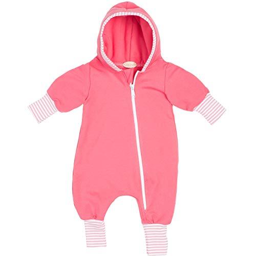 """Lilakind"""" Baby Mädchen Overall Einteiler mit Kapuze Jersey Fleece Apricot Streifen Gr. 92/98 - Made in Germany"""