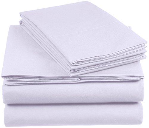 Amazon Basics AB 200TC Cotton - Light, 100% Algodón, Lila, 200 x 200 cm & 2 Fundas 80 x 80 cm