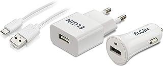 Kit Carregador USB de Tomada Bivolt, Carregador Veicular 1 Saída 1A, 5W e Cabo MicroUSB de 1 Metro, Elgin, 46RCK1USB00M, B...