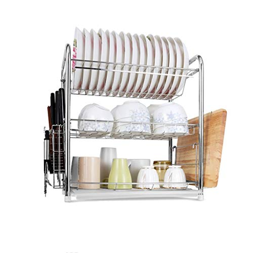 WXJLYZRCXK Kitchen Storage Organiser Stainless Steel Bowl Shelf Two or Three Layers Kitchen Shelf Drain Rack Filter Water Bowl Shelf Supplies Chopsticks Frame Multi-Purpose,46 * 28 * 48Cm