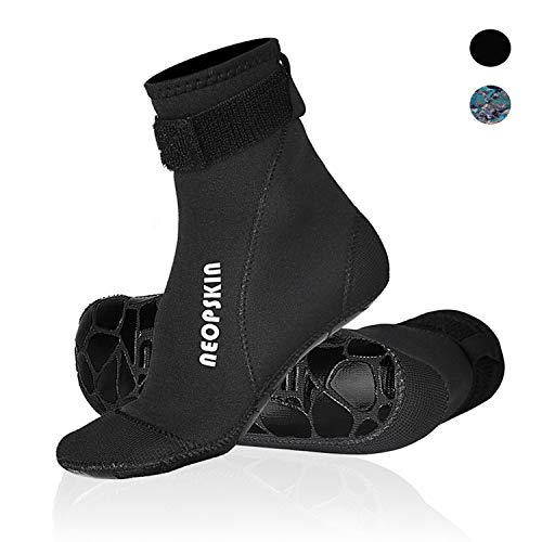 Neoprene Socks 3mm Beach Volleyball Sand Soccer Socks Water Booties Wet Shoes for Scuba Diving Swimming Surfing Snorkeling Fishing Wading Kayak (Black-High Cut, S)