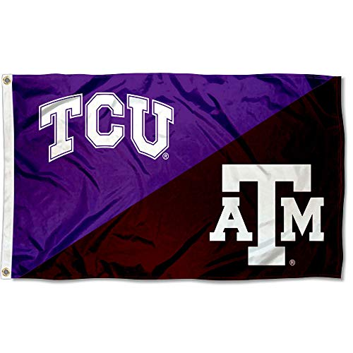 Texas Christian vs Texas A&M House Divided 3x5 Flag Rivalry Banner