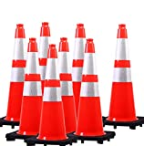 "(8 Cones) Orangeplas 28"" Orange PVC Safety Traffic Cone,Black Base Construction Road Parking Cone Structurally Stable Wearproof (28' Height)"
