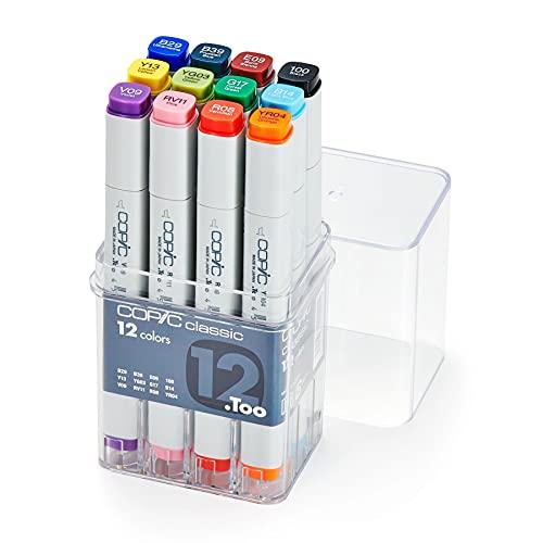 COPIC Classic Marker Basis Set mit 12 Farben, professionelle Layoutmarker, alkoholbasiert, im praktischen Acryl-Display zur Aufbewahrung und einfachen Entnahme