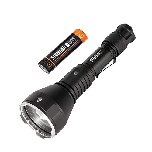Linterna táctica ACEBEAM W30 de 2633 yardas de largo lanzamiento, 6500 K, con batería recargable de larga duración, excelente linterna de caza incluye un filtro rojo
