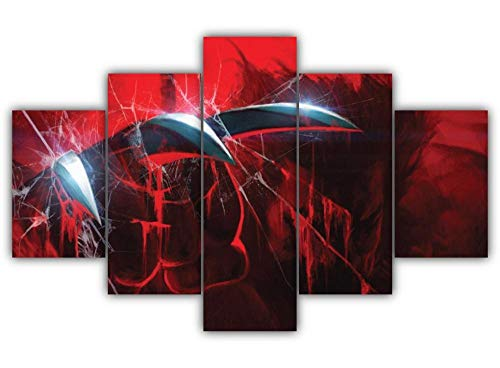 DBFHC Garras De Lobezno Cuadro Impresión Lienzo Pintura, 5 Piezas Arte HD Pared Arte Pintura para Hogar Salón Oficina Mordern Decoración Regalo,Wall Art Modular Poster Mural