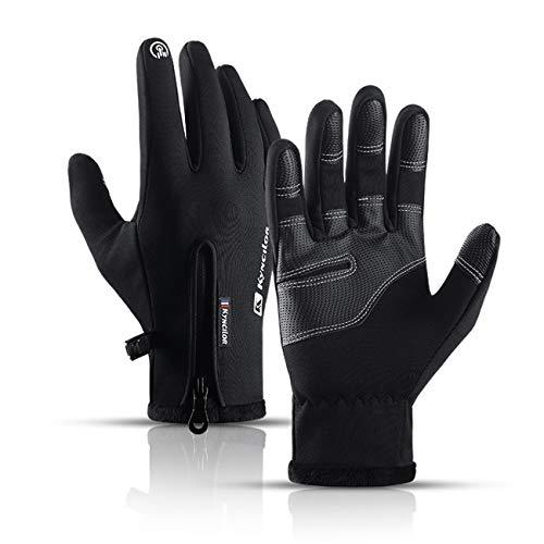 WOOKIT Unisex Fleece warme Handschuhe Touchscreen Wind- und wasserdichte Handschuhe Kälteschutzhandschuhe Sporthandschuhe-Schwarz-M