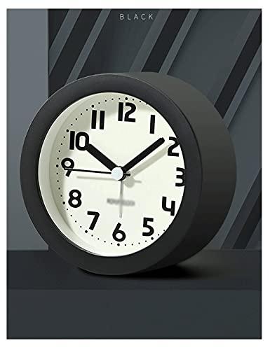Lhl Reloj de Alarma Simple, Reloj de Alarma silencioso Lindo Redondo con Color de luz de luz, para Dormitorio, Estudio, niños, Adultos (Color : Black)