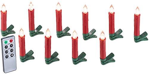 Lunartec Weihnachtsbaumkerze: 10er-Set LED-Weihnachtsbaum-Kerzen mit IR-Fernbedienung, rot (Kabellose Weihnachtskerzen)