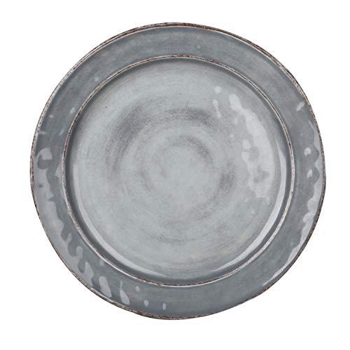 Pujadas P22.834 Plat de service en mélamine style méditerranéen, gris, diamètre 22 cm, hauteur 2,5 cm