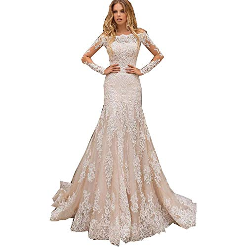 iluckin Women's Long Sleeves Lace Mermaid Wedding Dress with Detachable Train for Bride Bridal Ball Prom Party Gowns