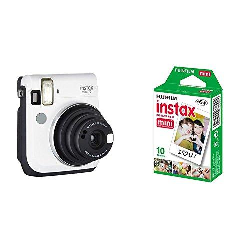 Fujifilm Instax Mini 70 - Cámara analógica instantánea (ISO 800, 0.37x, 60 mm, 1:12.7, flash automático, modo autorretrato, exposición automática, temporizador, modo macro), blanco luna + 1 paquete de películas fotográficas instantáneas (10 hojas)