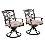 CW Chair Dining Cast Aluminum Swivel Rocker Cushions, Rust-Free Metal Patio Furniture Chairs for Outdoor Lawn Garden Backyard Set of 2, Brown