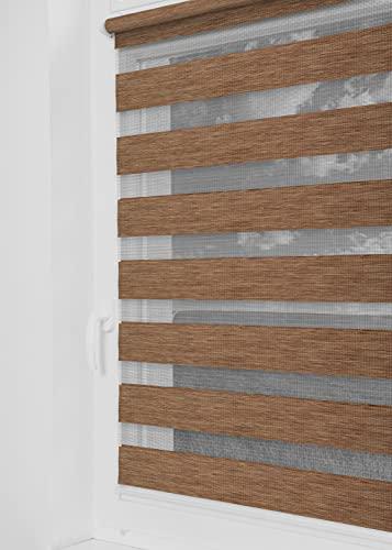 Tom'Shop® Doppelrollo [Holzlook Gold, 75cm x 220cm] Duo Rollos für Fenster Klemmfix ohne Bohren mit Klämmträger Fensterrollo