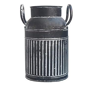 MISIXILE Metal Galvanized Milk Can Rustic Farmhouse Vase Decorative Shabby Chic Pitcher Vase for Home Decor 8.3 - Black