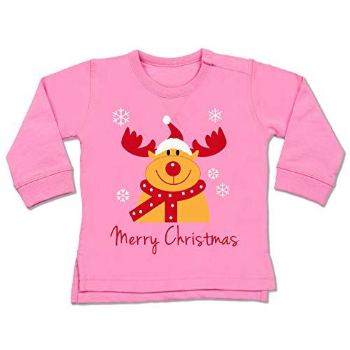 Shirtracer Weihnachten Baby - Merry Christmas Rentier - 12/18 Monate - Pink - Weihnachtspullover für Kinder - BZ31 - Baby Pullover