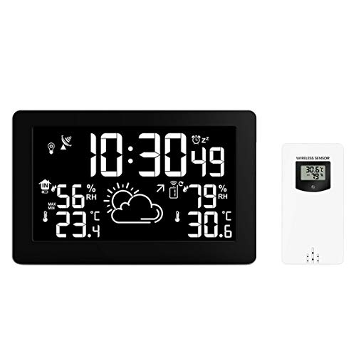 Drahtlose Wetterstation mit Radio Controlled Clock, Indoor Outdoor Temperature Thermometer, Feuchtigkeits-Eisalarm, Easy-to-Read Display, Home Weather Station