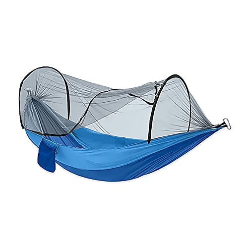 QYQS Hamaca automática con mosquitera 260 * 140 CM Senderismo al Aire Libre Individual Doble Tela de Nailon Camping Polo de Viaje Anti-Mosquitos,Azul