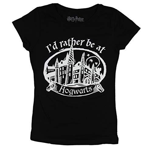 Harry Potter I'd Rather Be at Girls Hogwarts School Graphic Black T-Shirt XL