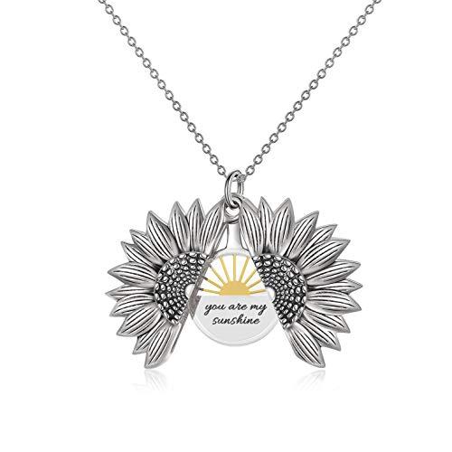LONAGO 925 Sterling Silber Personalisierte Namenskette Offenes Medaillon Graviert Sie Sind Mein Sonnenschein Sonnenblumen Anhänger Halskette Schmuck (Style 2-white gold)