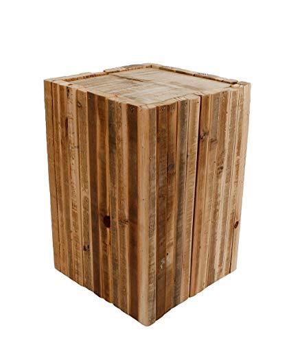 Spetebo Design Holz Hocker eckig - 30x20 cm - Blumenhocker Beistelltisch Holzklotz Hocker Blumenständer