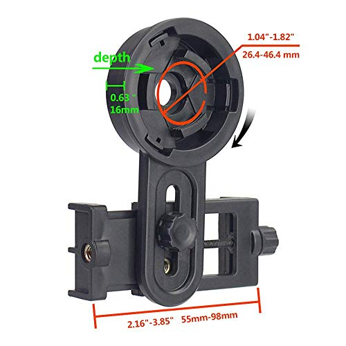 Universal Telescope Phone Mount, Binoculars Phone Mount for Photographing- Quick Set-up Smartphone Mount for Binoculars Monocular Spotting Scopes Telescopes Microscope