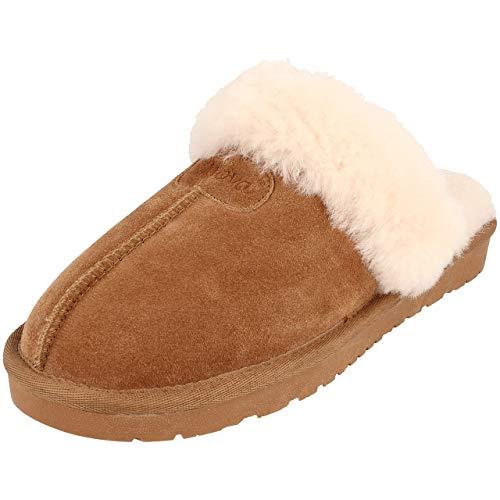 BOnova Helsinki Hausschuhe Damen Plüsch braun Gr. 39 - Schuhe Slipper Clogs Pantoffeln Lammfell Schlappen Filzpantoffeln Leder 35 36 37 38 39 40 41 42 43