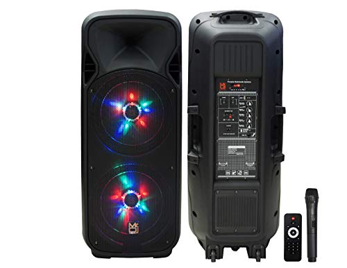 """Mr. Dj Lets Party Dual 12"""" Speaker with Built-in Bluetooth, Rechargeable Battery, FM Radio, EQ, USB & SD Card 4000W P.M.P.O"""