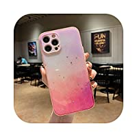For iPhone 11 12 Pro Max XS X XR 7 8 Plus SE2020ミニ耐衝撃キャンディーカラーバンパーバックカバー用の高級グリッター電話ケース-Pink-For iPhone 11Pro Max