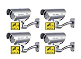 BW CCTV - Cámara ficticia (4 unidades, con luz LED intermitente, forma de bala), color plateado