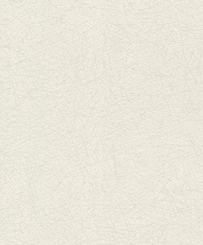 rasch Tapete 541335 aus der Kollektion #ROCKNROLLE – Vliestapete in Weiß mit zarten metallic Linien – 10,05m x 53cm (L x B)