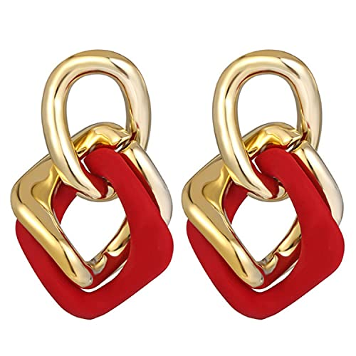 4 Pairs 17KM Vintage Geometric Metal Chunky Chain Link Earrings For Women Gold Hollow Round Square Drop Earring Elegant Jewelry